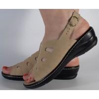 Sandale platforma piele naturala bej dama/dame/femei (cod 4918-4)