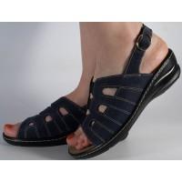 Sandale platforma piele naturala negre dama/dame/femei (cod 4918-4)