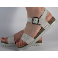 Sandale platforma piele naturala albe dama/dame/femei (cod 08009)