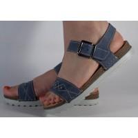 Sandale platforma piele naturala albastre dama/dame/femei (cod 08009)