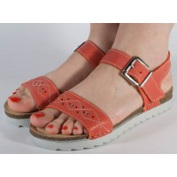 Sandale platforma piele naturala rosii dama/dame/femei (cod 08009)