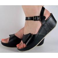 Sandale platforma piele naturala negre dama/dame/femei (cod 654)