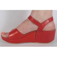 Sandale platforma piele naturala rosii dama/dame/femei (cod 654)