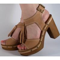 Sandale maro elegante piele naturala dama/dame/femei (cod F546)