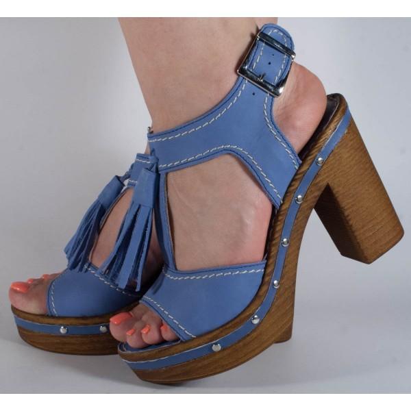 Sandale albastre elegante piele naturala dama/dame/femei (cod F546)