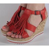 Sandale platforma rosii naturala dama/dame/femei (cod D117)