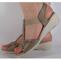 Sandale platforma kaki piele naturala dama/dame/femei (cod 242055)