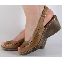 Sandale platforma maro piele naturala dama/dame/femei (cod 360005)