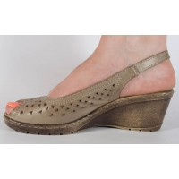 Sandale platforma kaki piele naturala dama/dame/femei (cod 360005)