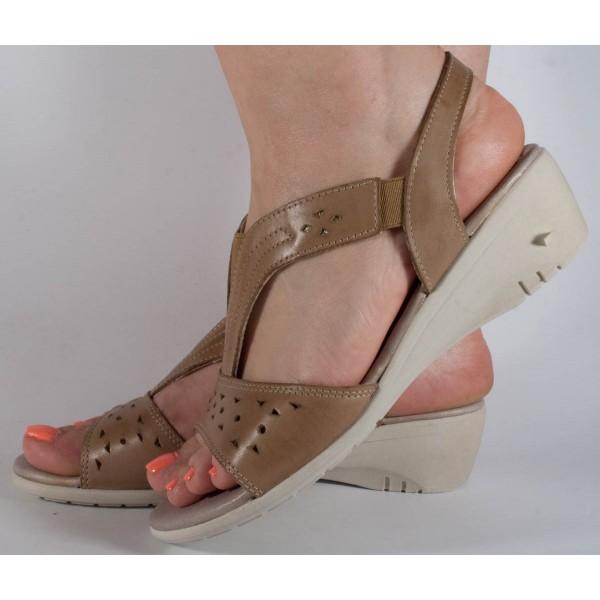 Sandale platforma maro piele naturala dama/dame/femei (cod 242040)