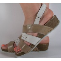 Sandale platforma grej cu alb piele naturala dama/dame/femei (cod 349215)