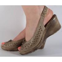 Sandale platforma kaki piele naturala dama/dame/femei (cod 360040)