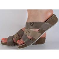 Saboti platforma kaki cu grej piele naturala dama/dame/femei (cod 349220)