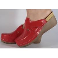 Saboti/Papuci rosii din piele naturala dama/dame/femei (cod 1001)