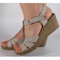 Sandale gri  platforma piele naturala dama/dame/femei (43005)