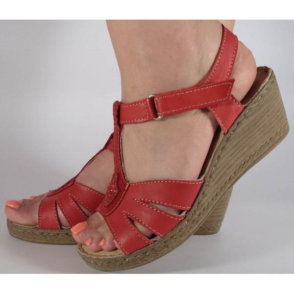 Sandale rosii platforma piele naturala dama/dame/femei (43005)