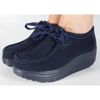 Pantofi bleumarin piele talpa convexa dama/dame/femei (cod 186005)