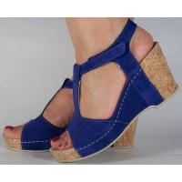 Sandale platforma bleumarin piele naturala dama/dame/femei (cod 587)