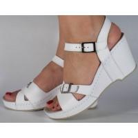 Sandale platforma albe piele naturala dama/dame/femei (cod 589)