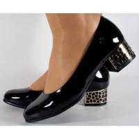 Pantofi negri lac eleganti dama/dame/femei (cod 15-46228)