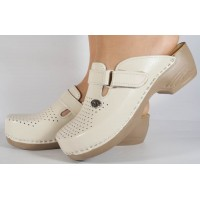Saboti/Papuci bej din piele naturala dama/dame/femei (cod 159)