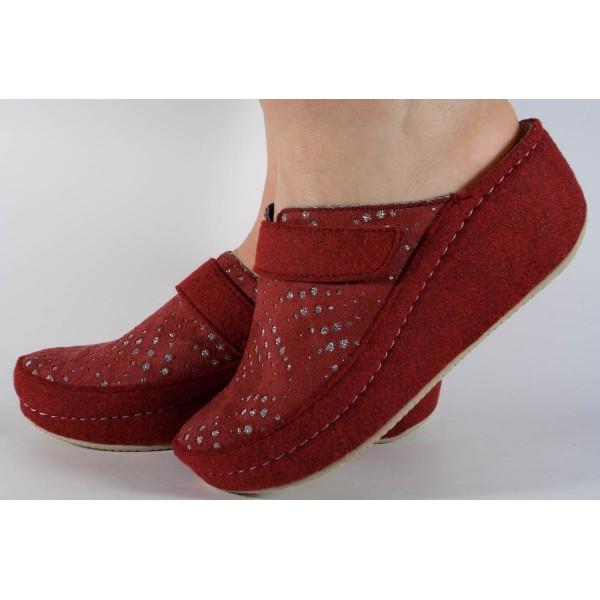 Papuci de casa visinii din lana cu platforma dama/dame/femei (cod 6623)