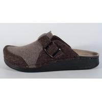 Papuci de casa din lana maro cu gri cu talpic piele naturala (cod 3433)
