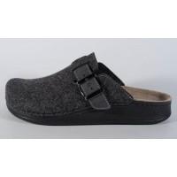 Papuci de casa din lana gri inchis cu talpic piele naturala (cod 3400.5)