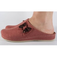 Papuci de casa roz inchis din lana cu talpic piele naturala dama/dame/femei (cod 477.1)