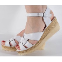 Sandale platforma albe piele naturala dama/dame/femei (cod SS01)