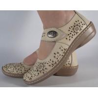 Pantofi platforma perforati bej piele naturala dama/dame/femei (cod B739874)