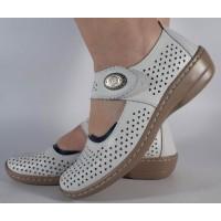 Pantofi platforma perforati albi piele naturala dama/dame/femei (cod B739904)