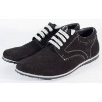 Pantofi barbati cu siret, negri din piele (cod SPO4)
