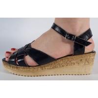 Sandale platforma negre piele naturala dama/dame/femei (cod SS01)