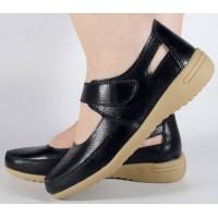 Pantofi platforma negri de vara perforati piele naturala dama/dame/femei (cod B044625)