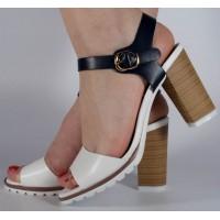 Sandale office alb cu bleumarin dama/dame/femei (cod 501009)