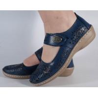 Pantofi platforma perforati bleumarin piele naturala dama/dame/femei (cod B739874)