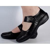 Pantofi platforma perforati negri piele naturala dama/dame/femei (cod B739874)