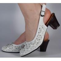 Pantofi office perforati albi dama/dame/femei (cod 028497)