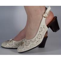 Pantofi office perforati bej dama/dame/femei (cod 028497)
