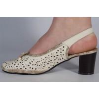 Pantofi office perforati bej dama/dame/femei (cod 028498)