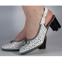 Pantofi office perforati albi dama/dame/femei (cod 028498)