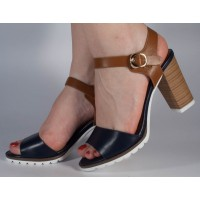 Sandale office maro cu bleumarin dama/dame/femei (cod 501009)