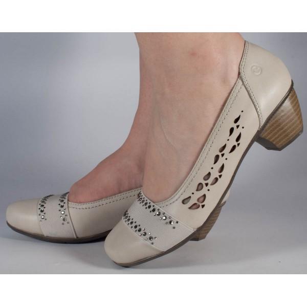 Pantofi bej deschis Reflexan piele naturala dama/dame/femei (cod 70805-69)