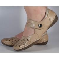 Pantofi bej Reflexan piele naturala dama/dame/femei (cod 22110-21)