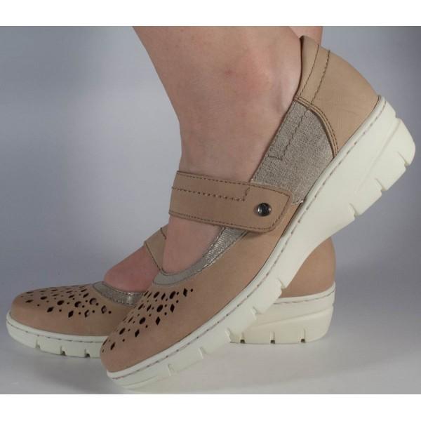 Pantofi platforma bej Reflexan piele naturala dama/dame/femei (cod 21610-23)