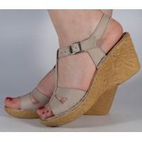 Sandale gri platforma piele naturala dama/dame/femei (cod 3045-5)