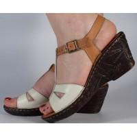 Sandale alb maro platforma piele naturala dama/dame/femei (cod 3045-5)