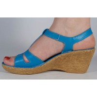 Sandale albastre platforma piele naturala dama/dame/femei (cod 3045-5)