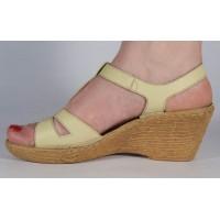 Sandale galben deschis platforma piele naturala dama/dame/femei (cod 3045-5)